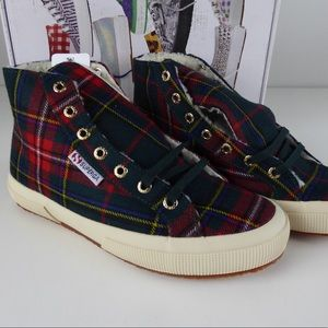 Superga Tartan Plaid Fleece Lined High Top Sneaker